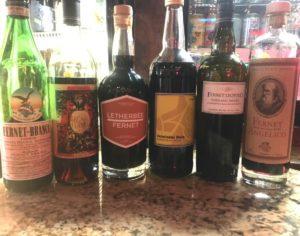 Various Fernets Liquors