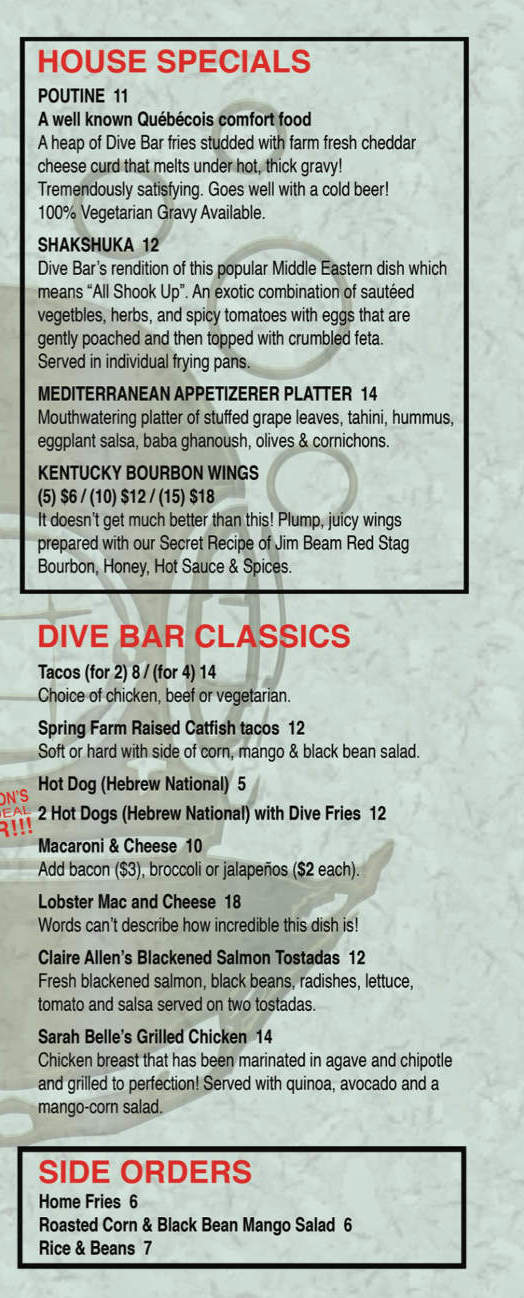 Dive Bar Menu front right